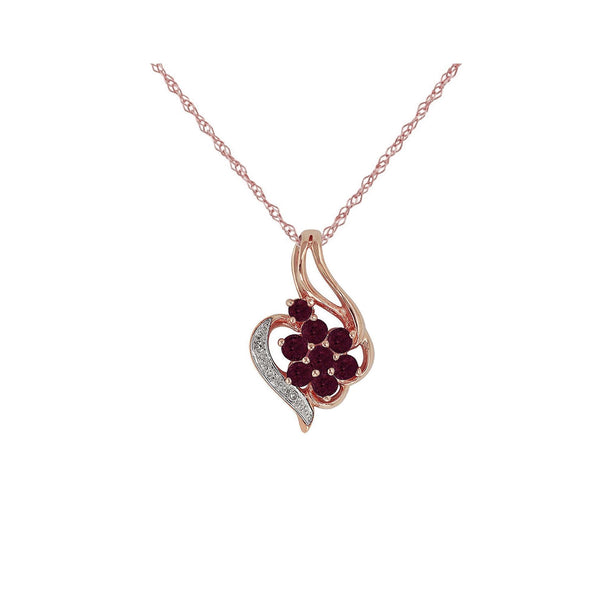 Floral Ruby & Diamond Cluster Pendant on Chain Image 1