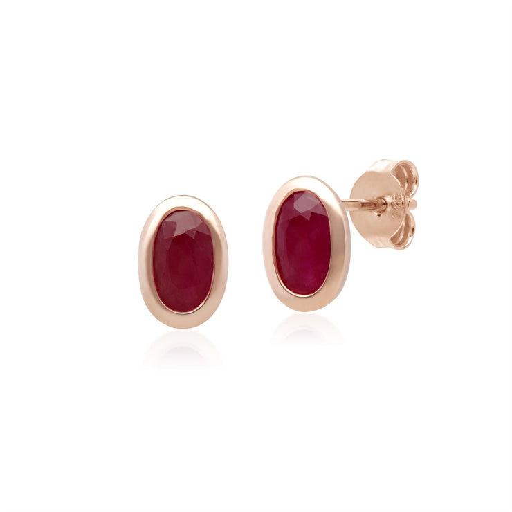 Classic Oval Ruby Stud Earrings in 9ct Rose Gold