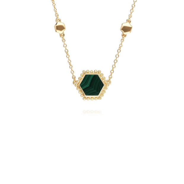 Malachite Flat Slice Hex Necklace in Gold Plated Sterling Silver