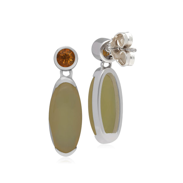 Kosmos Opal & Citrine Oval Shaped Drop Earrings in Sterling Silver