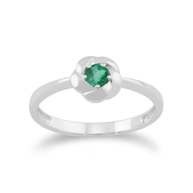 Gemondo Plaited Texture 9ct White Gold 0.16ct Emerald Ring