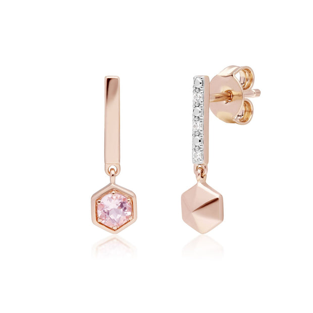 Micro Statement Mismatched Morganite & Diamond Drop Earrings in 9ct Rose Gold