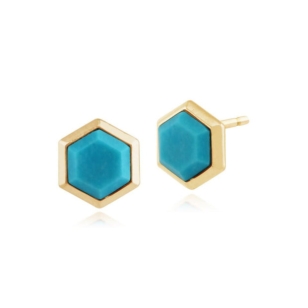 Geometric  Hexagon Turquoise Stud Earrings in Gold Plated Silver