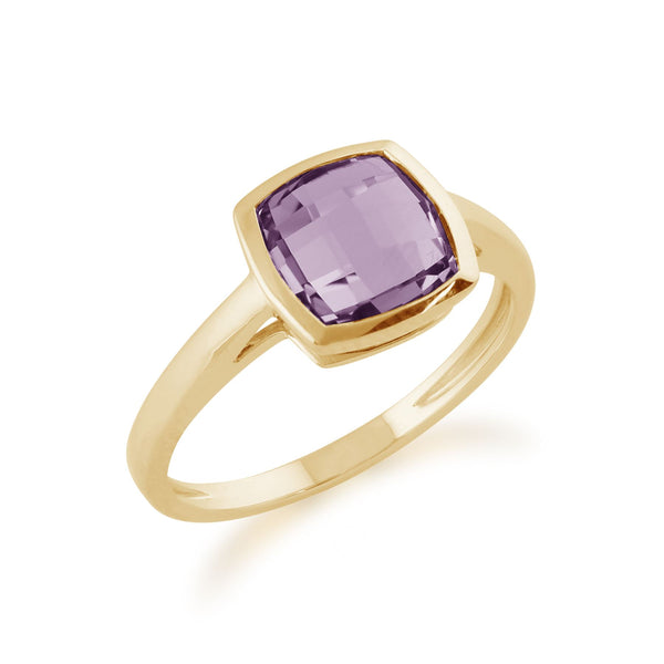 Gemondo 9ct Yellow Gold 2.00ct Square Purple Amethyst Ring