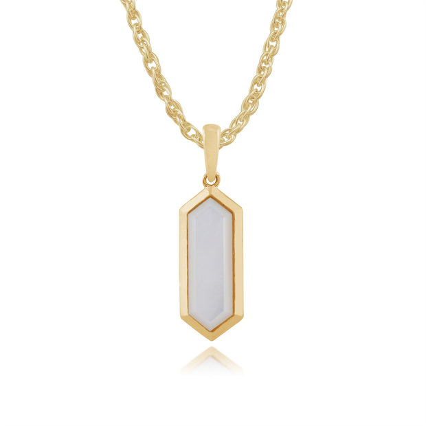 Geometric Hexagon Mother of Pearl Bezel Drop Earrings & Pendant Set in Gold Plated 925 Sterling Silver