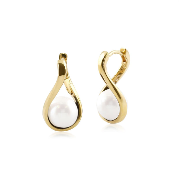 Kosmos Round Ball Shaped White Agate Earrings in Yellow Gold Plated Sterling Silver