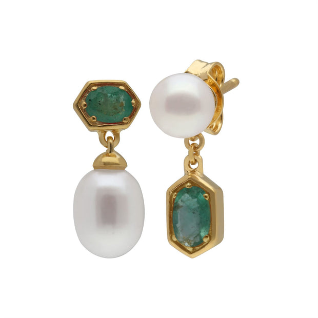Modern Pearl & Emerald Mismatched Drop Earrings in Gold Plated Sterling Silver