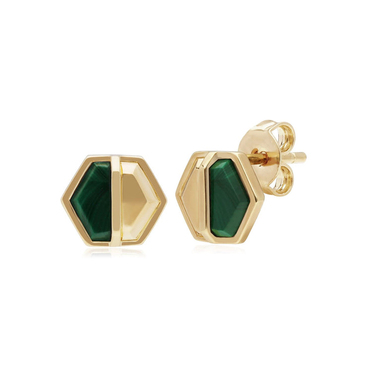 Micro Statement Malachite Hexagon Stud Earrings in Gold Plated 925 Sterling Silver