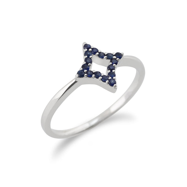 Gemondo 925 Sterling Silver 0.17ct Sapphire Star Ring
