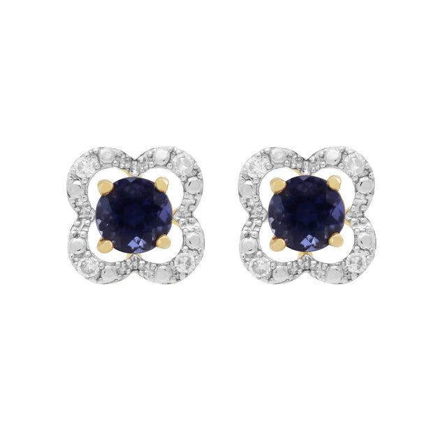 Classic Iolite Stud Earrings & Diamond Floral Ear Jacket Image 1