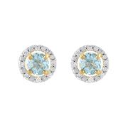 Classic Aquamarine Stud Earrings & Diamond Round Earrings Jacket Set Image 1