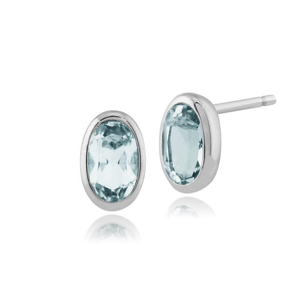 Classic Oval Aquamarine Bezel Stud Earrings & Pendant Set Image 2