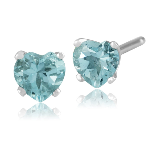 Classic Aquamarine Heart Stud Earrings Image 1