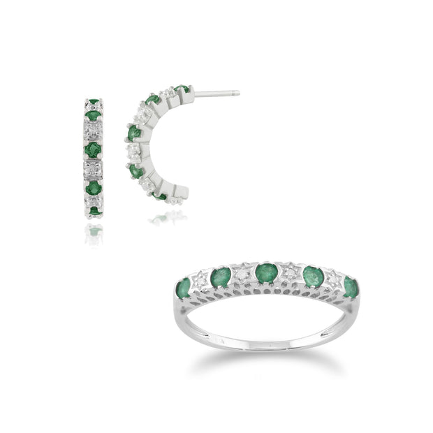 Classic Emerald & Diamond Eternity Ring and Hoop Earrings Set Image 1