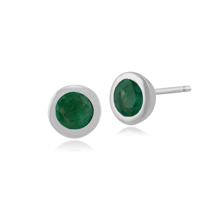 Classic Round Emerald Bezel Stud Earrings Image 1