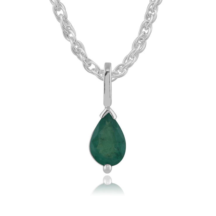 Classic Emerald Pendant on Chain Image 1