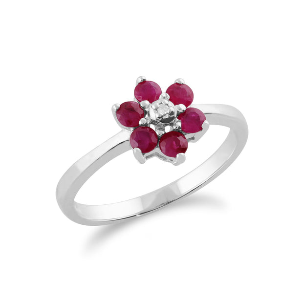 Ruby & Diamond Flower Ring Image 2