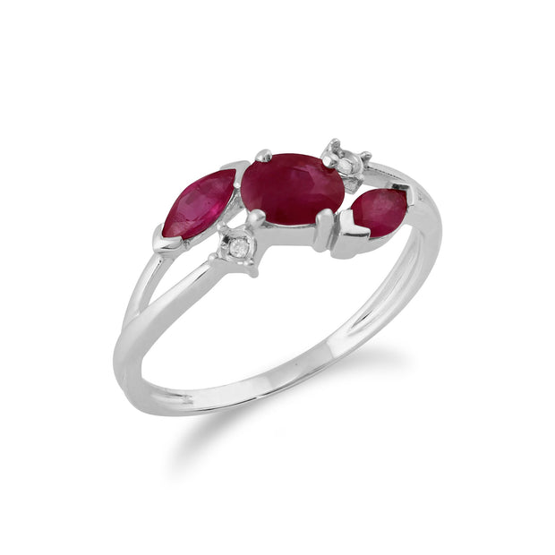Ruby & Diamond Crossover Ring Image 2
