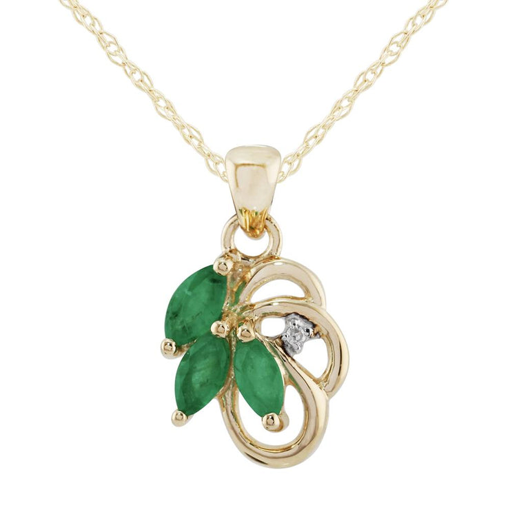 Floral Emerald & Diamond Necklace Image 1
