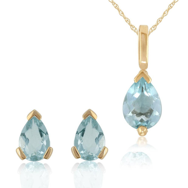 Classic Aquamarine Stud Earrings & Pendant Set Image 1