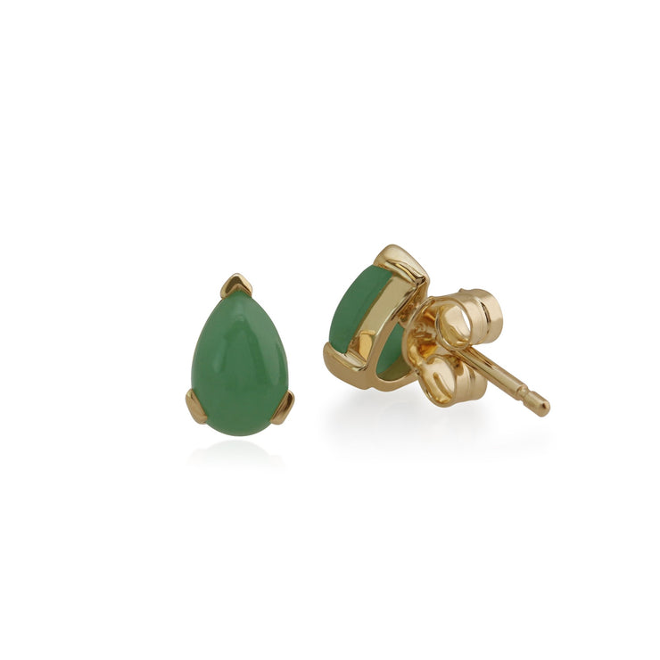 Classic Pear Green Jade Stud Earrings Image 2