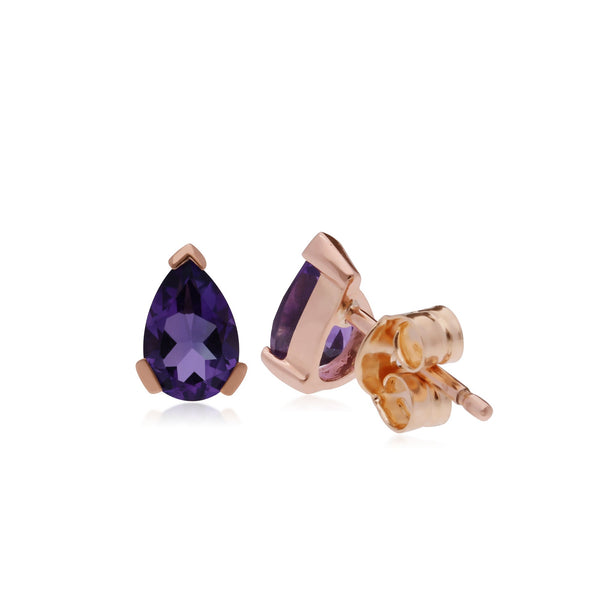 Classic Pear Amethyst Stud Earrings Image 2