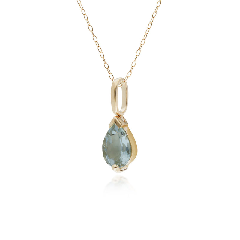 10ct Yellow Gold Aquamarine Single Stone Pear Pendant on 45cm Chain