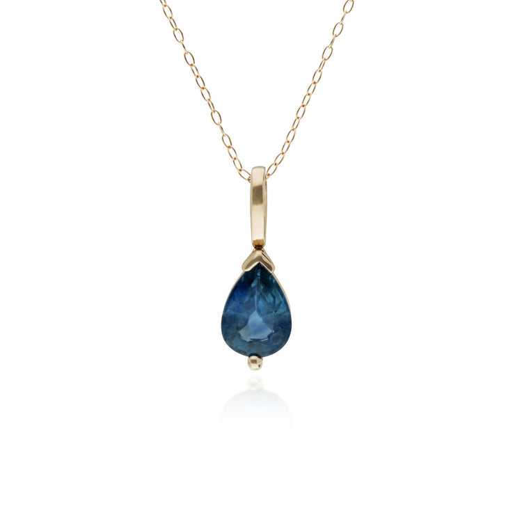 10ct Yellow Gold Sapphire Single Stone Pear Pendant on 45cm Chain
