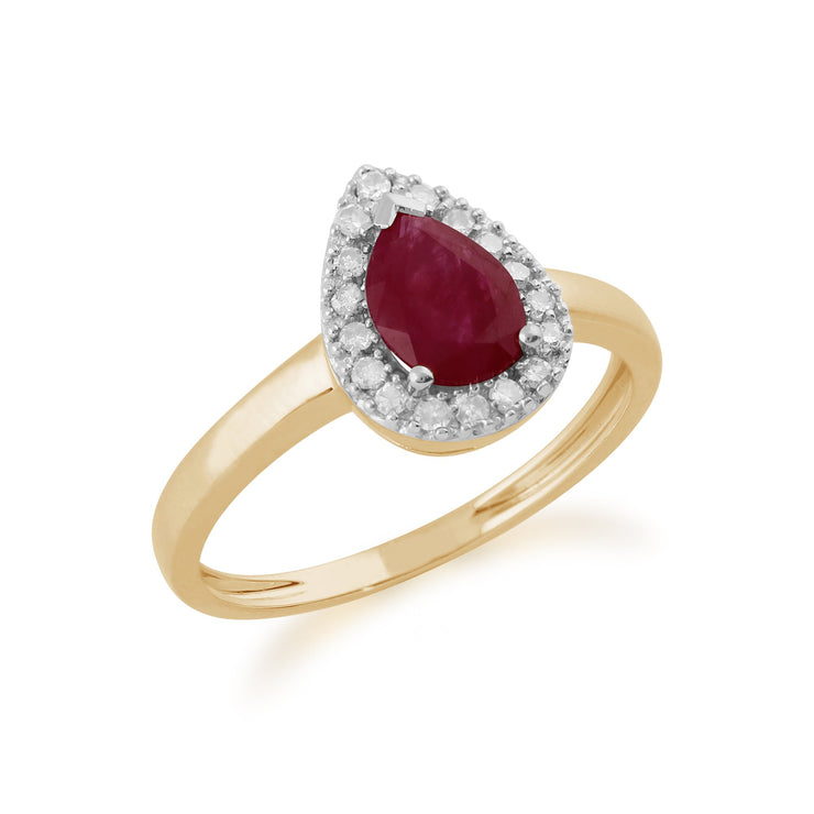Pear Ruby and Diamond Ring Image 2