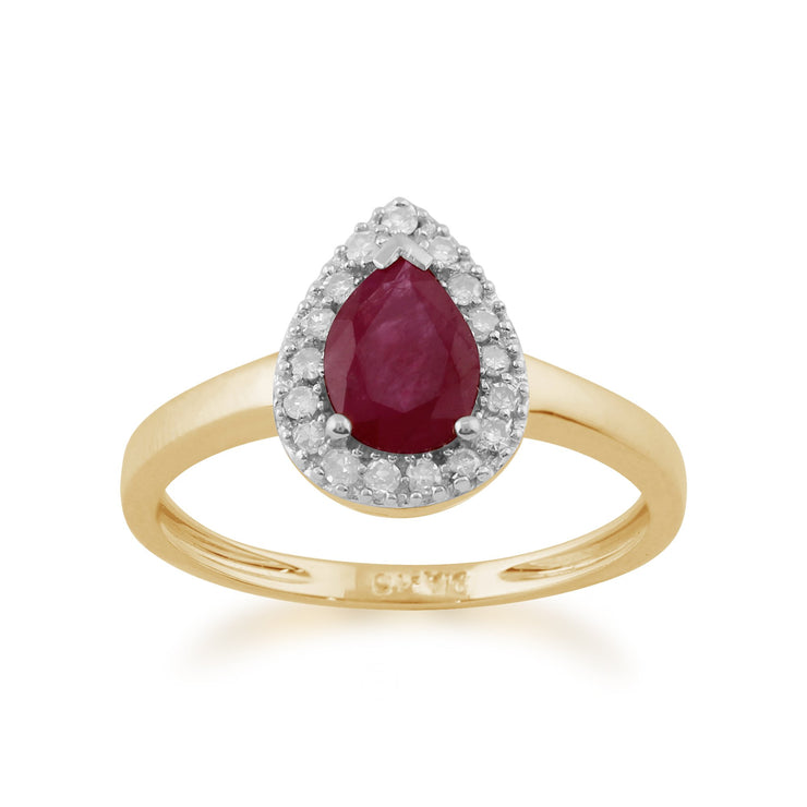 Pear Ruby and Diamond Ring Image 1