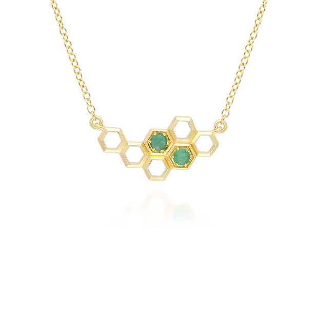 Honeycomb Inspired Emerald Link Necklace in 9ct Yellow Gold