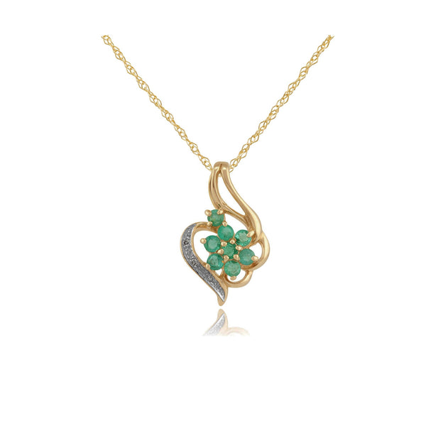 Floral Emerald & Diamond Cluster Pendant on Chain Image 1