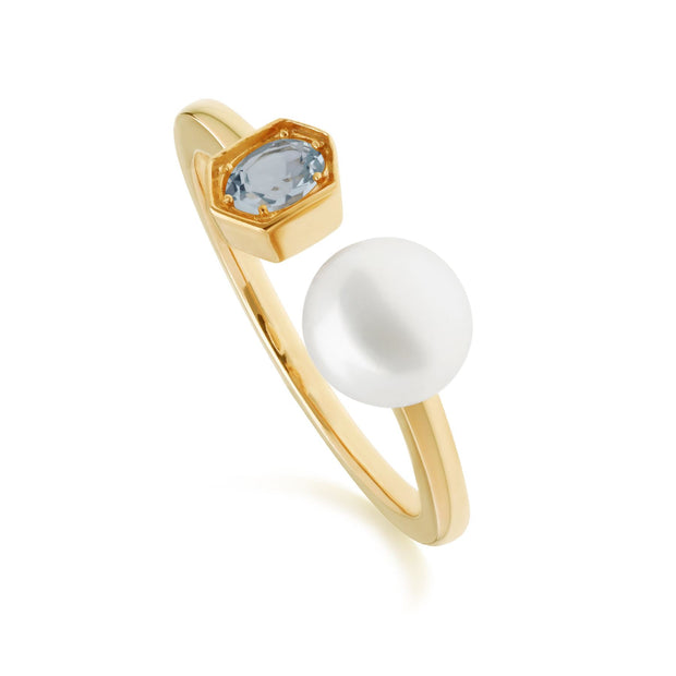 Modern Pearl & Blue Topaz Open Ring in Gold Plated Sterling Silver