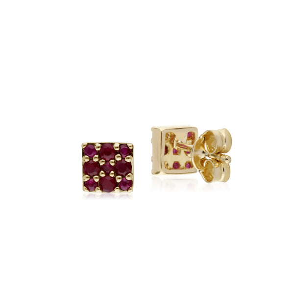 Classic Ruby Cluster Stud Earrings Image 2