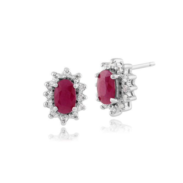 Classic Ruby & Diamond Cluster Stud Earrings Image 1
