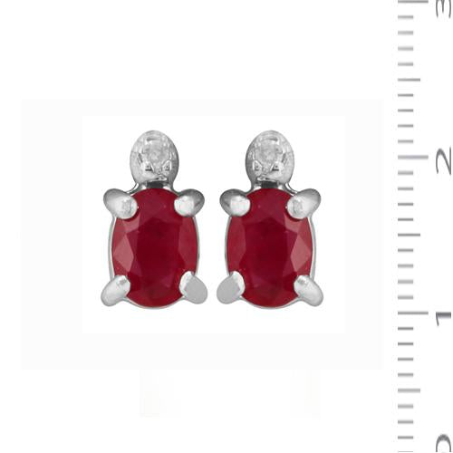 Classic Oval Ruby & Diamond Stud Earrings in 9ct White Gold