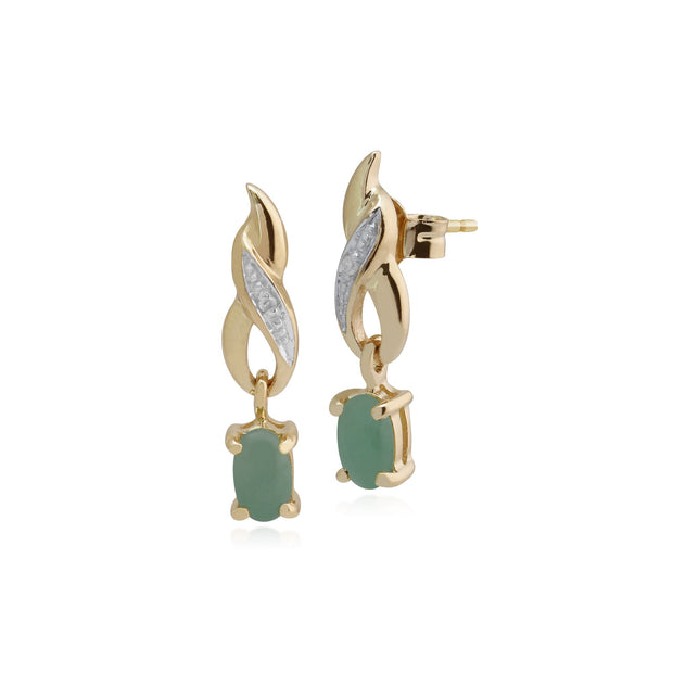 Classic Oval Jade & Diamond Twist Drop Earrings Image 1