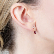 Classic Garnet & Diamond Drop Earrings Image 2