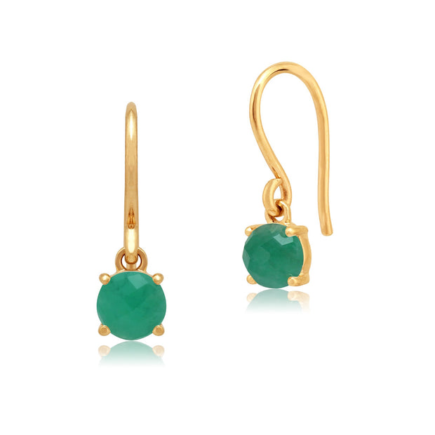 Classic Emerald Checkerboard Drop Earrings Image 1