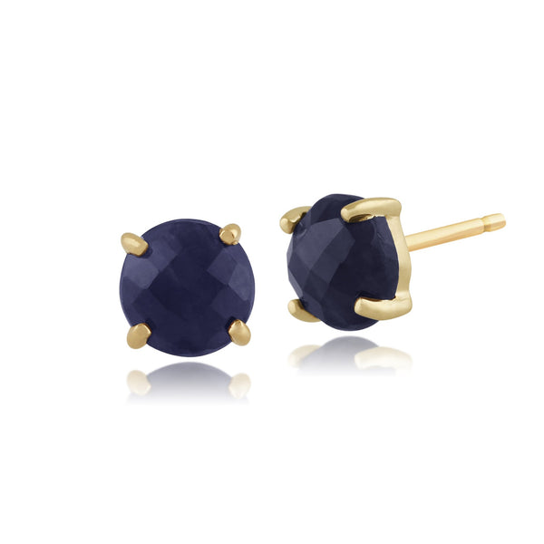 Classic Sapphire Checkerboard Stud Earrings Image 1