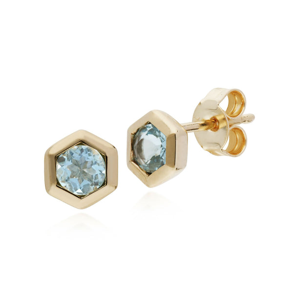 Geometric Aquamarine Hexagon Stud Earrings Image 1