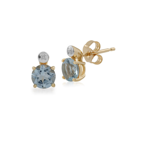 Classic Round Aquamarine & Diamond Stud Earrings Image 1