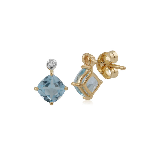 Classic Square Blue Topaz & Diamond Stud Earrings Image 2