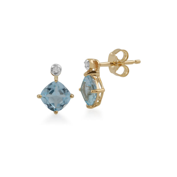 Classic Square Blue Topaz & Diamond Stud Earrings Image 1
