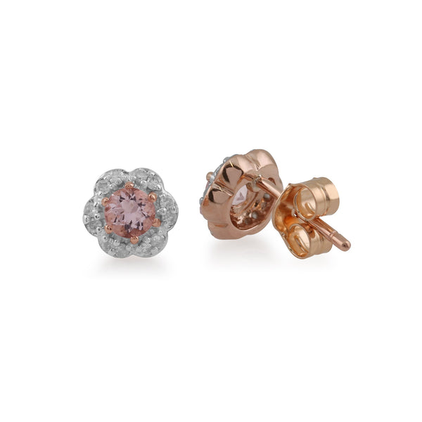 Floral Morganite & Diamond Stud Earrings Image 2
