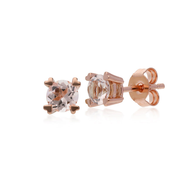 Classic Morganite Heart Claw Stud Earrings Image 1