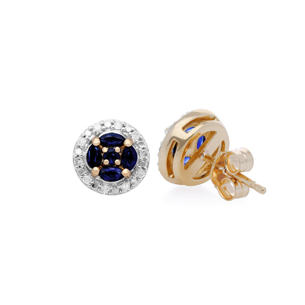 Classic Sapphire & Diamond Halo Cluster Stud Earrings Image 2