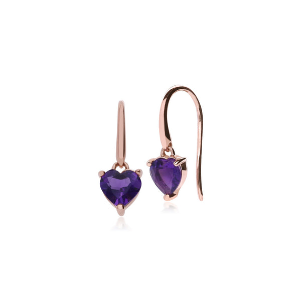 Classic Heart Amethyst Drop Earrings Image 1