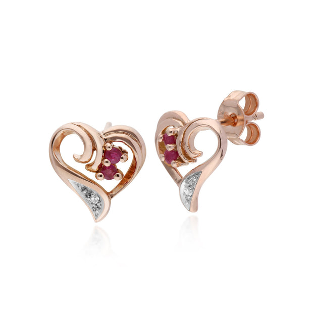 Classic Ruby Swirl Heart Stud Earrings Image 1