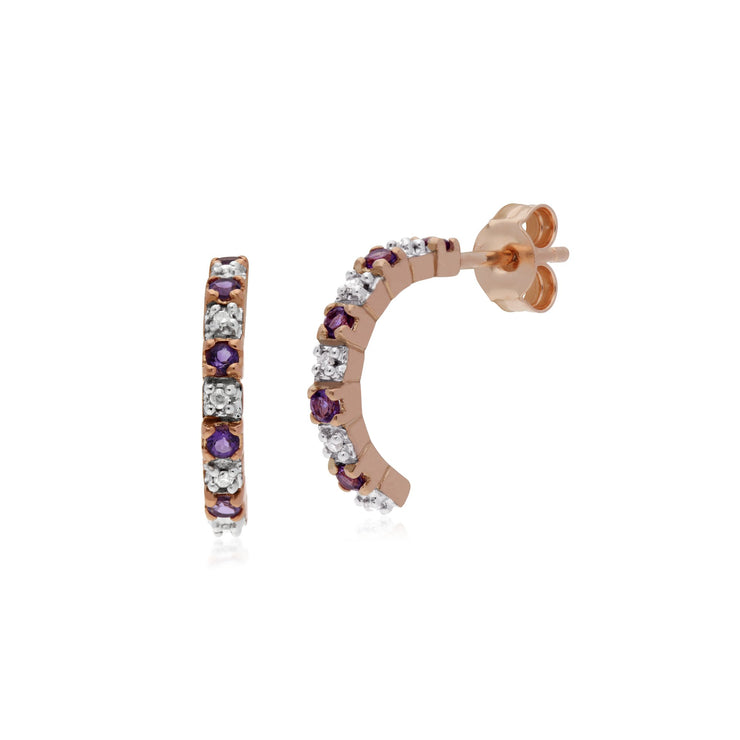 Classic Amethyst & Diamond Half Hoop Earrings Image 1
